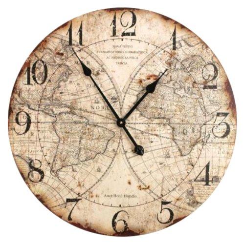 Manual World Map Wall Clock, 24-Inch