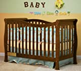 Convertible Baby Crib with Wave Design in Espresso Finish