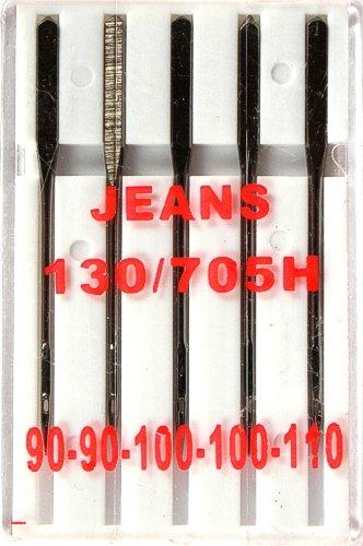 5 Nähmaschinennadeln Jeans Flachkolben 130/705H für Nähmaschine