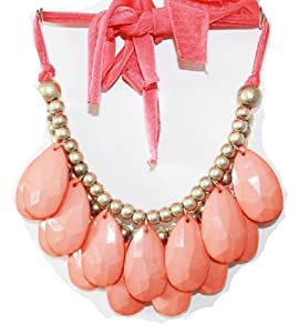 coral- Size 48mm Teardrop Double Strand Necklace, Stormy Seas Briolette Bib Statement Necklace(WP-H25))