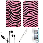 MARY Black Pink Zebra Wallet Design Smart Stand Case For Apple iPod Touch 5th Generation + Screen Protector + Handsfree Earphones + Stylus Pen