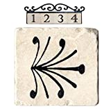 NACH AZ-CLASSIC-END3-FEATHER Decorative Marble House Address/Number Tile, Beige