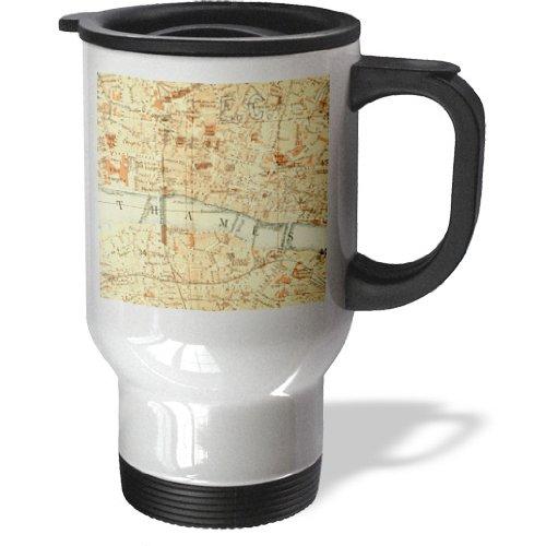 Tm_112939_1 Inspirationzstore Vintage Maps - Vintage Map Of London Uk Section With Thames River - Retro Cream Brown Orange - Geography Travel - Travel Mug - 14Oz Stainless Steel Travel Mug