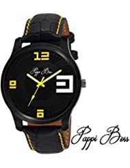 Pappi Boss Black Case Yellow Initial & Stitching Leather Strap Analog Casual Watch For Men, Boys