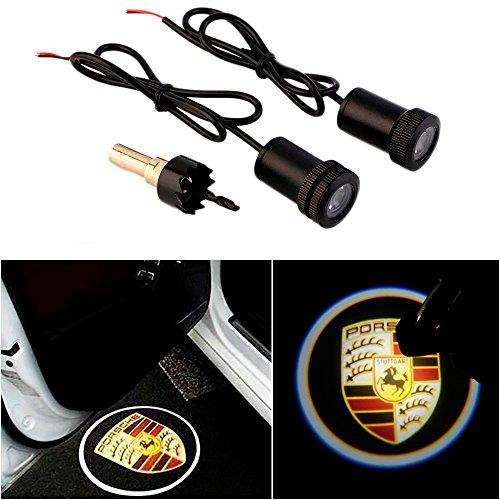 WONFAST® For PORSCHE Car Auto Laser Projector Logo Illuminated Emblem Under Door Step courtesy Light Lighting symbol sign badge LED Glow Performance
