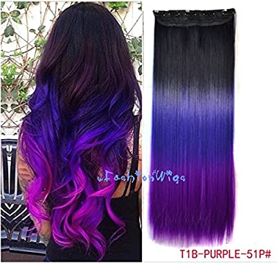 Black to purple to grape purple three Colors Ombre hair extension, Synthetic Hair extensions UF204