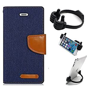 Aart Fancy Wallet Dairy Jeans Flip Case Cover for HTC826 (NavyBlue) + Flexible Portable Mount Cradle Thumb OK Designed Stand Holder By Aart Store.
