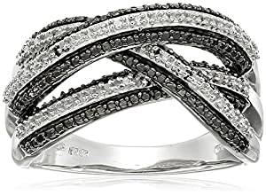 Sterling Silver Black and White Diamond Ring (1/6 cttw), Size 8