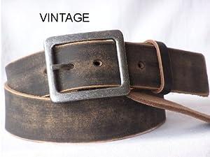 Emeco ® Vintage Ledergürtel Herrengürtel echtes Leder 4,5cm Breit ST40003brn, GR: 105(120CM