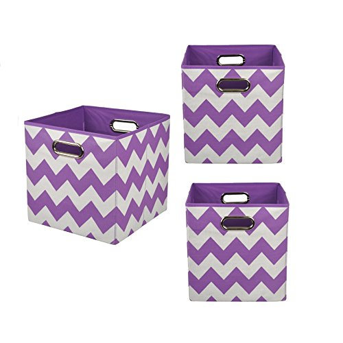 Modern Littles Organization Bundle Storage Bins, Color Pop Purple Chevron, 3 Count