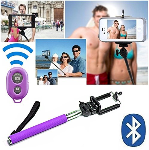 Selfie Stick Pole Monopod for iPhone 6, 6 Plus, 5S, 5C, 5, 4s, 4 Self Portrait Video Camera Mini Collapsible Telescoping Tripod with Bluetooth Remote for iPhone, Android, iPod, comes with Cell Phone Tripod Adapter Head, Also for Samsung Galaxy S3 S2 Note 2 ** Great Valentines Day Gifts or Mardi Gras Idea for Teens, Kids, Women, Wife, Teenage Girl, Him, Her ** - Davoice(TM) (Purple)