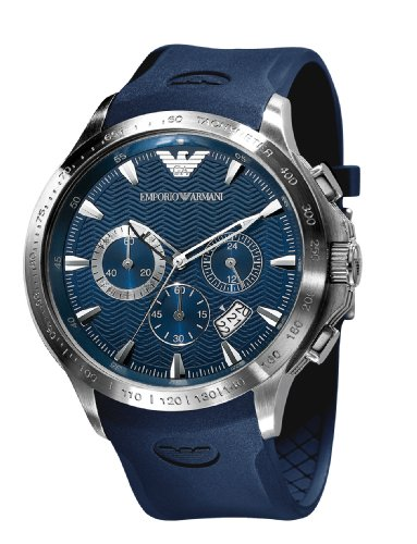 Emporio Armani Quartz, Blue Dial with Blue Rubber Strap Band - Men s Watch AR0649