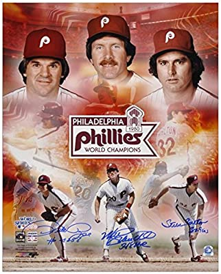 """Pete Rose, Steve Carlton and Mike Schmidt Philadelphia Phillies 1980 World Series Autographed 16"""" x 20"""" Collage with 3 Inscriptions - Fanatics Authentic Certified"""