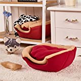 T2C Soft Yurt kennel Washable Dog Warm Bed with Cushion Red M
