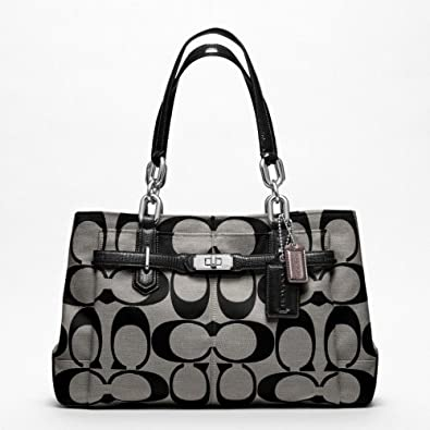 Coach Chelsea Signature Jayden Carryall Black and Grey 17806