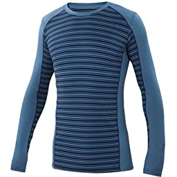 Ibex Outdoor Clothing Men\'s Woolies 2 Crew Striped Base Layer Top, Blueprint/Midnight Stripe, Medium