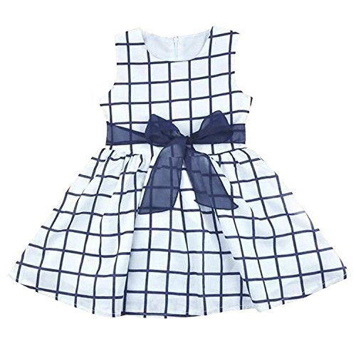 Cute Baby 0-3 Years Toddler Girl Kids Cotton Top Bowknot Plaid Dress Outfit Clothes