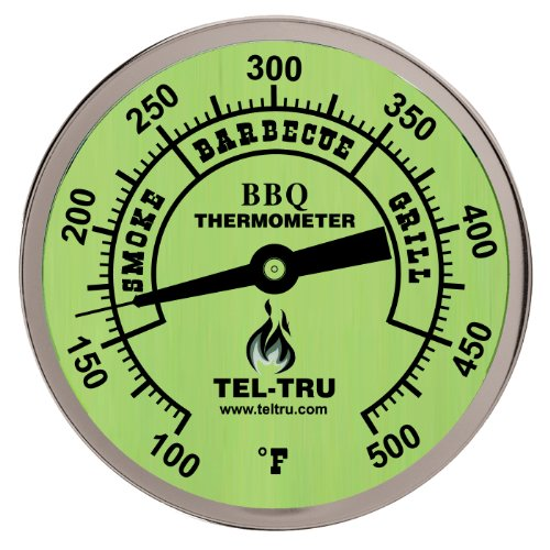 Tel-Tru Bq300 Barbecue Thermometer, 3 Inch Glow Dial With Zones, 2.5 Inch Stem, 100/500 Degrees F