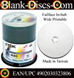 Tub of 100 TDK CD-R80 700MB 52X Inkjet Printable White Top cdr **CLEAR HUB spindle 100 pack