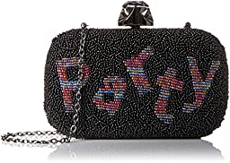 La Regale Beaded Party Minaudiere Clutch, Black, One Size
