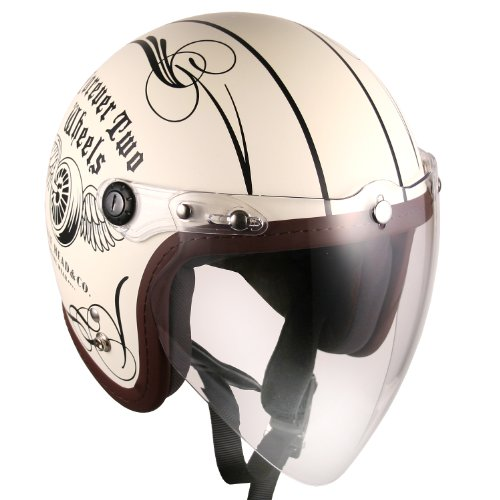 (F4 Jet-include Shield) Motorcycle Scooter Open Face 3/4 Three Quarter Jet Helmet Vintage Retro Style Helmets (White (Two Wheel Decal)) 0