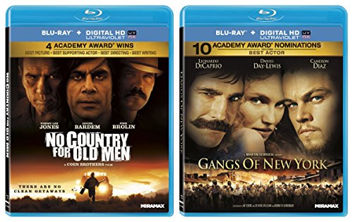 Gangs of New York & No Country for Old Men [Blu Ray] 2 Pack Crime Mystery Thriller Movie Set