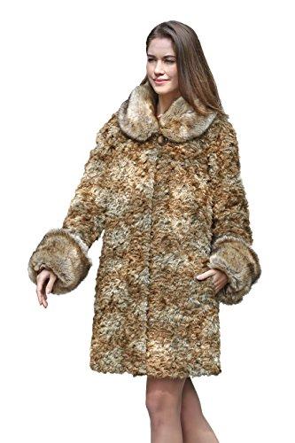 Adelaqueen Women's Winter Thick Persian Lamb Faux Fur Coat Faux Raccoon Collar