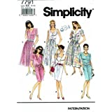 Simplicity 7791 Sewing Pattern Misses Dress Neckline Sleeve Skirt Variations Size 8 - 14 - Bust 31 1/2 - 36