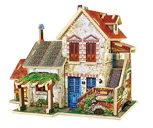 Thinkmax [France Farm House]Lovely Kids Wooden Toy 3D Puzzle Game France Landscape Architecture Model front-998456