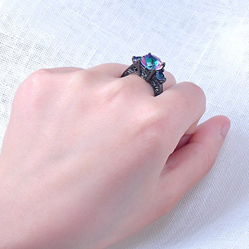 RongXing Jewelry New Mysterious Rainbow Topaz Ring,14KT Black Gold Wedding Rings Sz 6