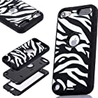 Oksobuy® the New White Black Zebra Combo Hard Soft High Impact Armor Case Skin Gel for Apple Ipod Touch Generation 5 (Touch 5 Case)-0401