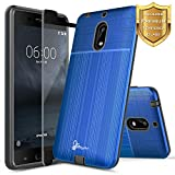 Nokia 6 Case with FREE [Full Cover Tempered Glass Screen Protector], NageBee [Brushed] Heavy Duty Defender Dual Layer Protector Case For Nokia 6 (5.5