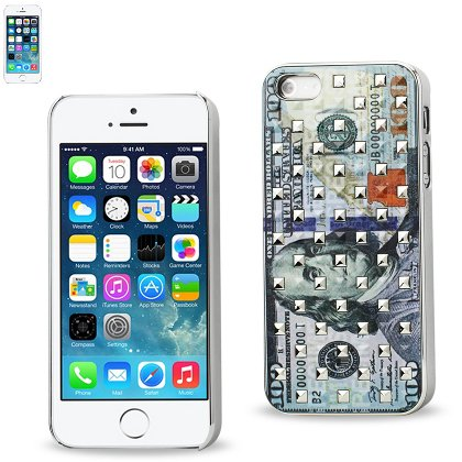 Reiko Plating Rivets Cover With New Us Dollar 100 Bill Pattern Iphone 5S - Retail Packaging - Clear