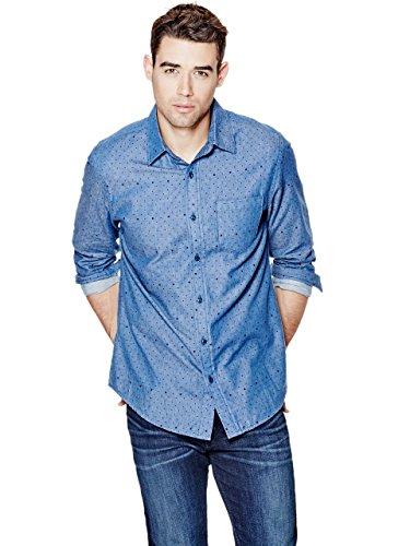 GUESS Men's Runyon Long-Sleeve Printed Slim-Fit Shirt
