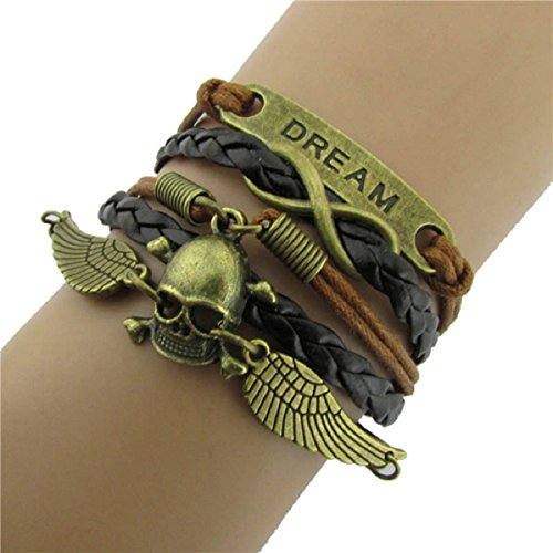 Doinshop New Fahion Jewelry Diy Multilayer Cute Bracelet Leather Bangle Chain (Angel Wings Skull)
