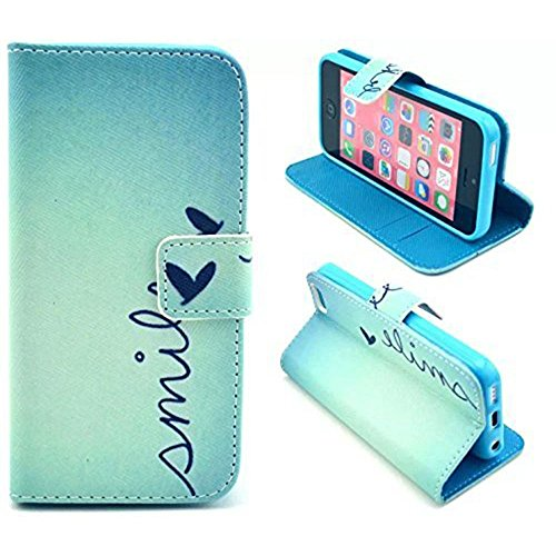 iPhone 5C Case,U-Gem star Deluxe PU Leather Folio Wallet Case Cover for Apple iPhone 5C,with SIM Card Adapter Kit+Screen Protector+Black Stylus (Blue) (I Phone 5c Cases Gems compare prices)