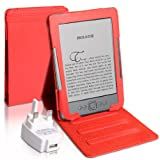 "Accessory Pack For The All New Amazon Kindle 4 - 6"" 6 Inch Version Red Executive Book Stand Case With UK Mains USB Adaptor Plugby Yousave"