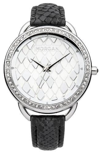 morgan m1204b montre femme quartz analogique cadran argent bracelet cuir noir. Black Bedroom Furniture Sets. Home Design Ideas