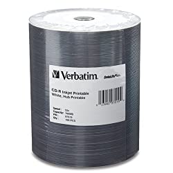 Verbatim 97019 700 MB 52x 80 Minute DataLifePlus White Inkjet and Hub Printable Recordable Disc CD-R, 100-Disc Spindle Tape Wrap