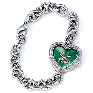 Ladies NBA Milwaukee Bucks Heart Watch by Jewelry Adviser Nba Watches