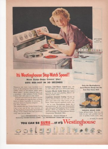 Westinghouse Stop-Watch Speed Corox Unit Range Stove Kitchen Appliance 1951 Farm Antique Advertisement front-40370