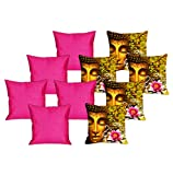 meSleep 5 Pc Saint Digital Cushion Cover and 5 Pc Pink Quilted Cushion Cover