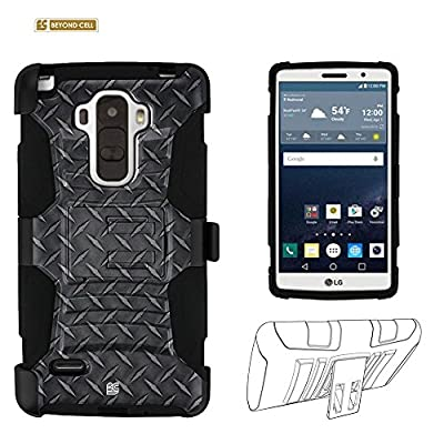 LG G Stylo Case, LS770, G Stylus Case, Beyond Cell®Durable High Impact Hard+Soft Hybrid Rugged Case Built in Kickstand Belt Clip Holster(FREE SCREEN PROTECTOR)(Included FREE Screen Protector)=Black Diamond Plate Steel