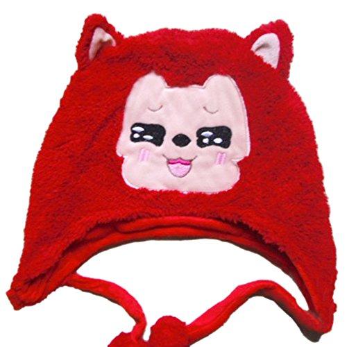 TopTie Weichtier Hut mit Ohrenklappen, Pelztier Hood Cap - Rot Fox3