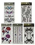 (Pack of 5) Temporary Tattoos (Over 15 tatoos in total) - Many Designs - Multicolor Butterfly, Flower, Rose and Butterfly