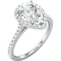 14K White Gold - Halo-Styled Pear-Shaped Engagement Ring Or Matching Band from US Gems