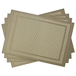SiCoHome Placemats PVC Placemats for Dining Room Table Heat Insulation Stain-resistant Woven Vinyl Kitchen Placemat Vinyl Placemats,set of 4(Double Border,Khaki)