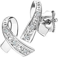 Boucles d'oreilles - PE03305W - Pendientes de mujer de oro blanco (9k) con 6 diamantes