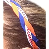 It S Ridic No Slip Grip Non-Slip Sports Athletic Nylon Triple Braided Sports Headband Blue | Orange | White With...