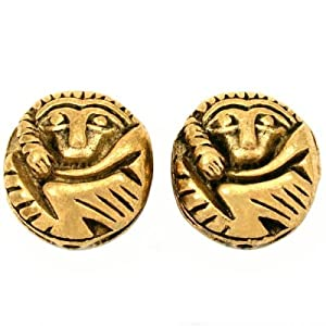 Bali Monkey Beads Antique Gold Plated 16.5mm Approx 2